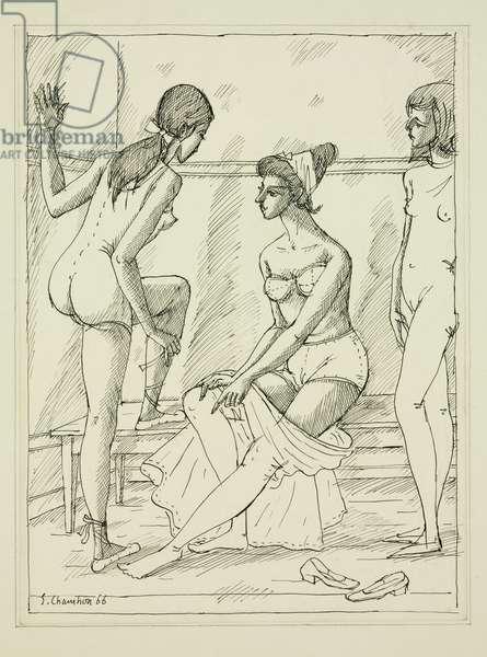 Danseuses au vestiaire, 1966 (ink & pencil on paper)