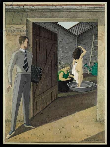 Saturday Bath, or David and Bathsheba (Josian B.), 1957 (oil on cardboard)