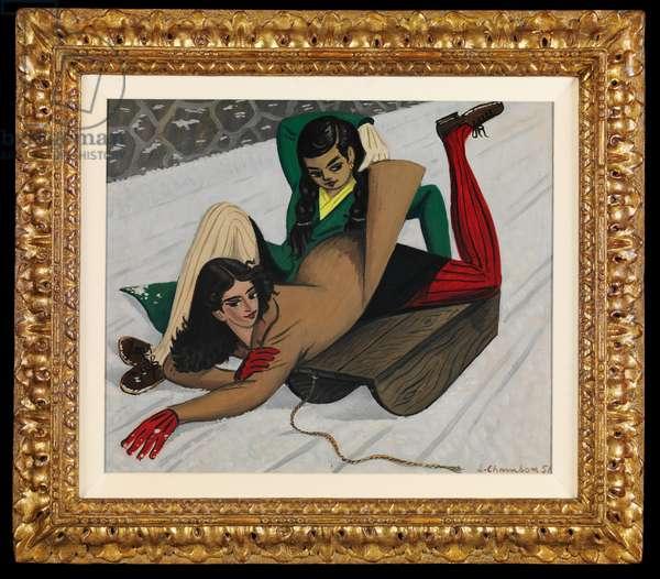 Les lugeuses, 1951 (oil on cardboard)
