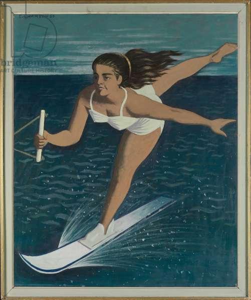 Champion Water-Skier Marina Doria, 1956 (oil on cardboard)