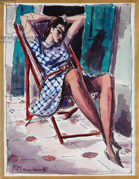 Raymonde on a deck chair, 1942 (w/c on paper)