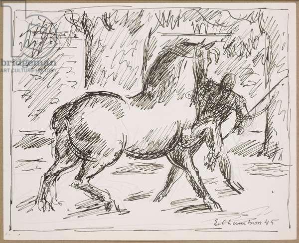Foire aux chevaux à Carouge, 1945 (ink & pencil on paper)
