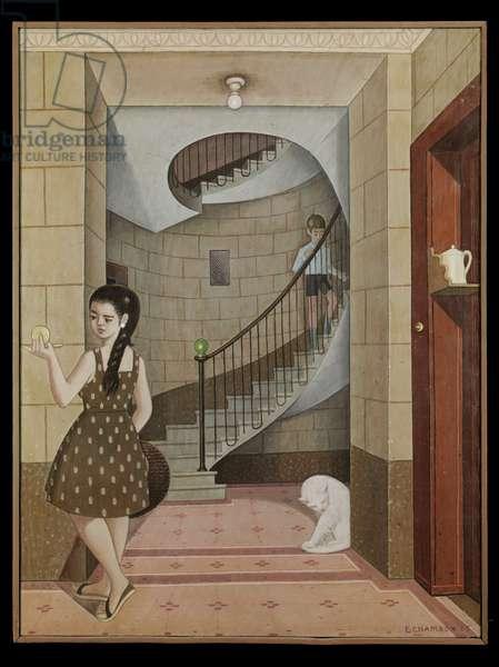 Spiral staircase at 23 Boulevard de la Cluse, 1965 (oil on canvas)