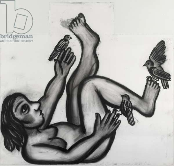 Woman with Birds, 1990 (charcoal on paper)