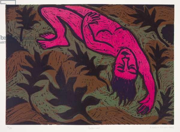 Delirious, 1992 (linocut)