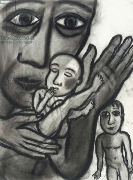 The New Baby, 1988 (charcoal on paper)