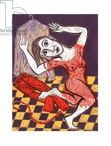 Red Dress, 2009 (linocut)