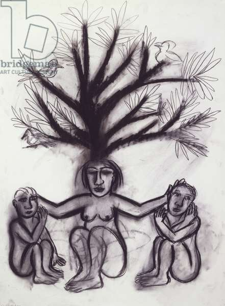 Shelter, 1999 (charcoal and conté on paper)