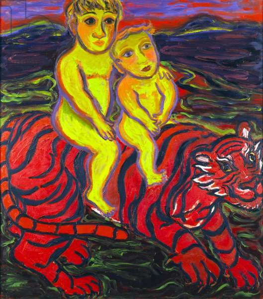 Boys and Tiger, 1989-91 (oil on canvas)