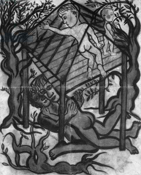 Treehouse, 1989-90 (charcoal and conte on paper)