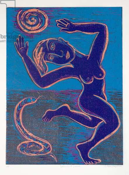 Dancing at Sunset, 2001 (linocut)