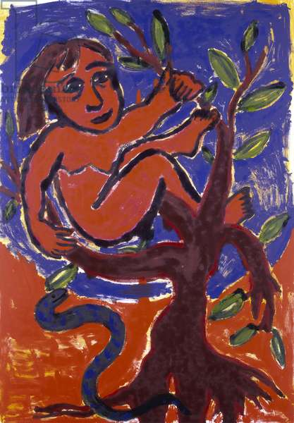 Woman in Tree, 1989 (monoprint)