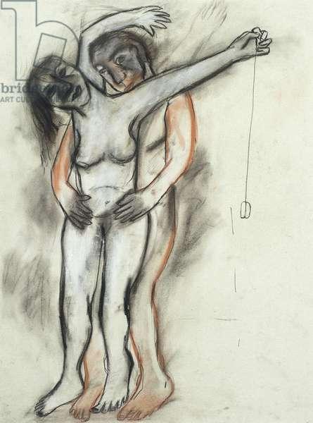 Woman with Yo-Yo, 1982 (conté, charcoal and pastel)