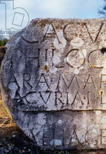Tomb fragment with text on the Appian Way (photo)