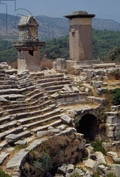 View of the amphitheatre in Xanthos, Ancient Lycia (photo)