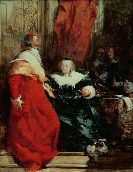 Anne of Austria (1601-66) with Cardinal Mazarin (1602-61) (oil)