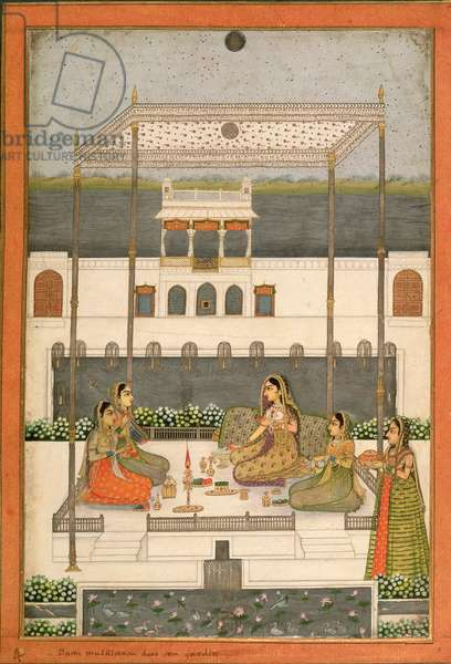 Evening party in the garden of a Mughal Palace, Lucknow or Murshidabad, West Bengal, 1760