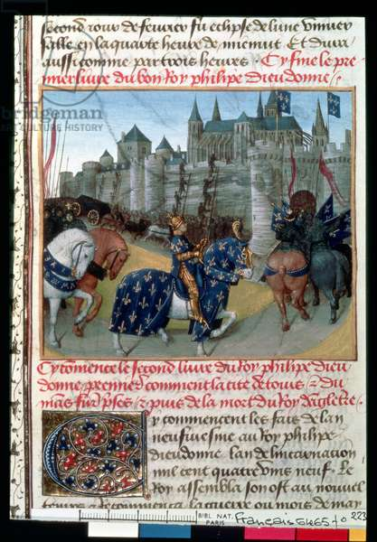 Fr 6465 f.223 Taking of Tours by Philippe Auguste (1165-1223) King of France in 1202 (vellum)