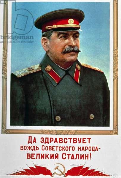 Portrait of Stalin (1879-1953) (colour litho)