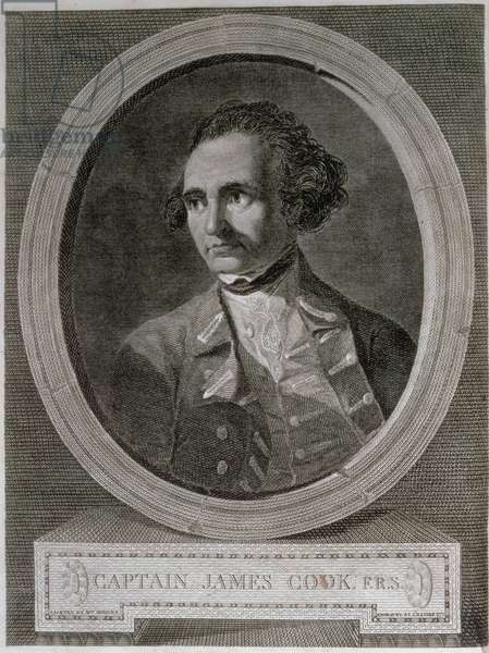 Portrait of Captain James Cook (1728-79), from the frontispiece of 'Journey Round the World to the South Pole' (engraving)