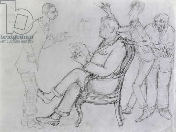Serge Diaghilev (1872-1929) Seated with Jean Cocteau (1889-1963), Eric Satie (1866-1925) and Igor Stravinsky (1882-1971) 1917 (pencil on paper)