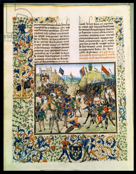 Fr 2643 f.165v Battle of Crecy from the Hundred Years War, from 'Froissart's Chronicle', 24th August 1346 (vellum)