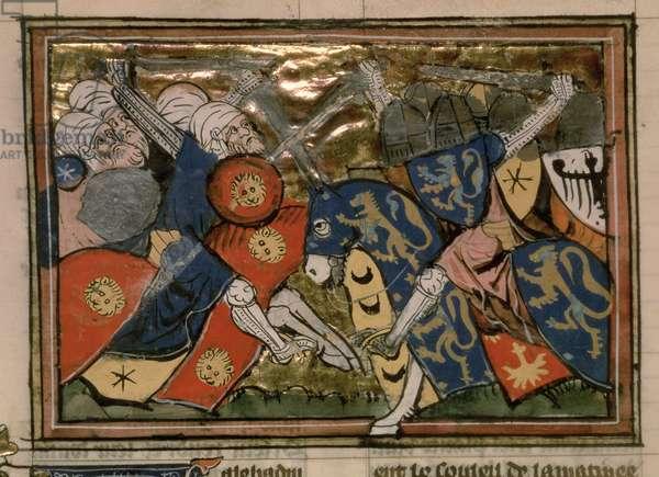 Fr 22495 f.235v , Battle of Jerusalem in 1187,  from Le Roman de Godefroi de Bouillon (vellum)