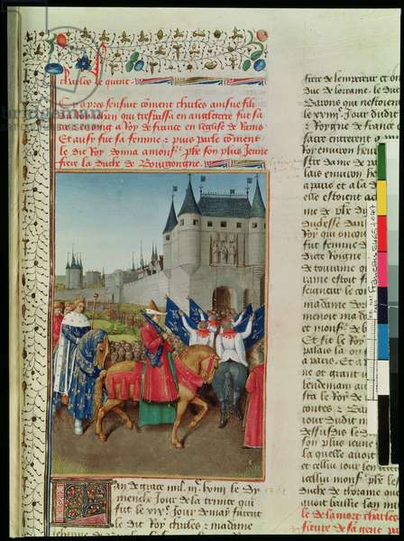 Ms 6465 f.417 The Arrival of Charles V (1337-80) in Paris, 28th May 1364, c.1460 (vellum)