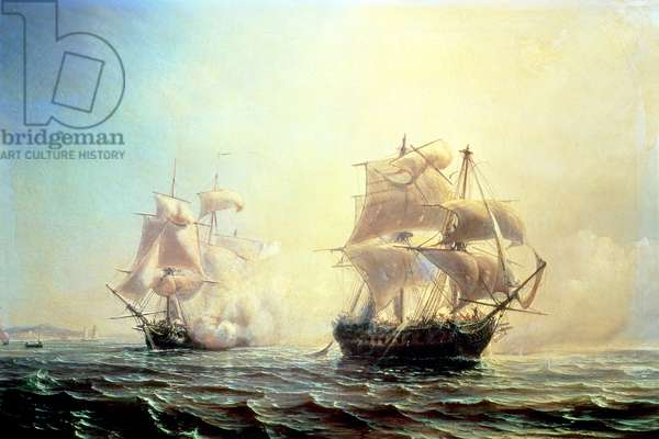 Combat between the frigate `L'Embuscade' and the `Boston' in the Port of New York in 1793