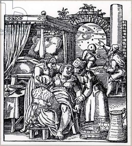 Astrologers casting a horoscope for the child being born to a woman in a birth chair, from 'De Conceptu et Generatione Hominis' by Jacob Rueff, published in Frankfurt, 1587 (engraving) (b/w photo)