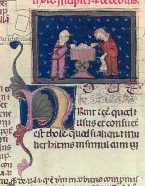 Lat 9187 fol.11v The debtor, from 'Coutumes de Toulouse', 1296 (vellum)