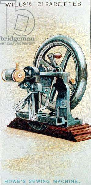 First lock-stitch sewing machine, invented by Elias Howe (1819-67) in 1845, from the 'Famous Inventions' series of 'Wills's Cigarettes' cards, 1915 (colour litho)