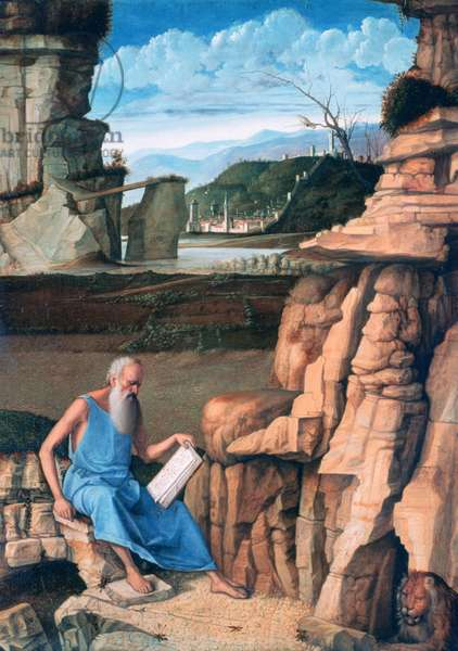 St Jerome Reading in a Landscape, c.1480-85 (oil on panel)