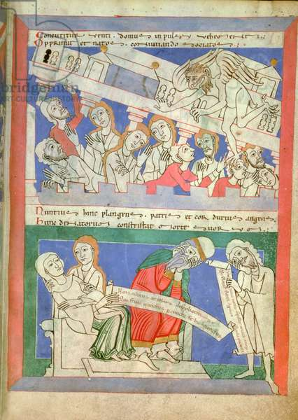 The wind personified by Satan brings down the House of Job on his children who are gathered around the table, and Job's wife fainting on hearing the news, from Moralia in Job by Pope Gregory the Great (vellum)