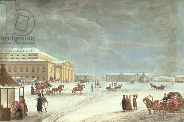 View of the Square and the Grand Theatre, St Petersburg  (coloured litho)