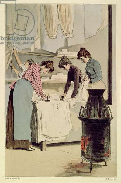 Laundresses, from 'La Femme a Paris' by Octave Uzanne, engraved by F. Masse, 1894 (coloured engraving)