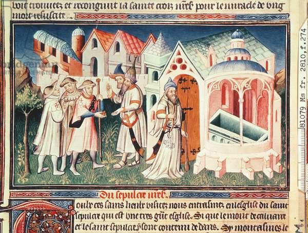 Ms Fr 2810 fol.274, Pilgrims in front of the Church of the Holy Sepulchre of Jerusalem, from 'Livre des Merveilles de Monde', c.1410-12 (tempera on vellum)