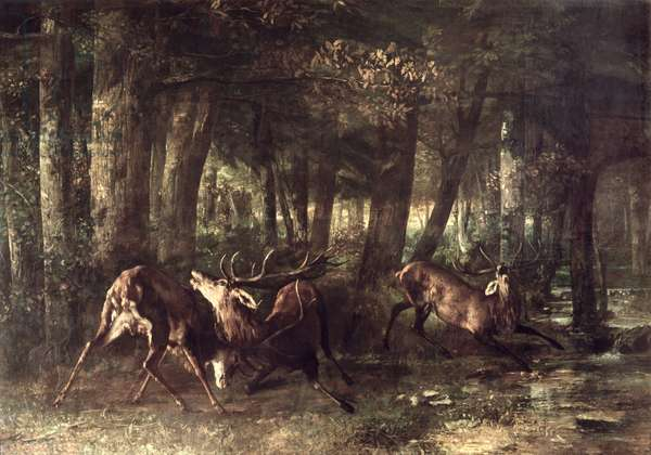Spring, Stags Fighting, 1861 (oil on canvas)