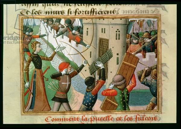 The Siege of Paris by Joan of Arc (c.1412-31) in 1429, from the Vigils of Charles VII, c.1484 (vellum)