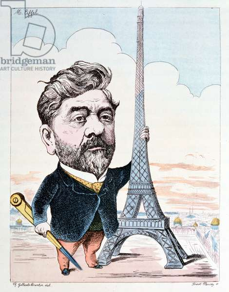 Gustave Eiffel (1832-1923) with his best known construction, the Eiffel Tower, engraved by Forest Fleury (coloured engraving)