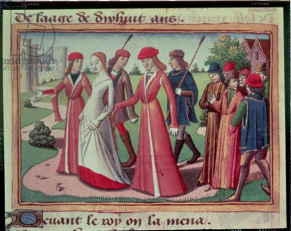 Joan of Arc (c.1412-31) being led to Charles VII (1403-61) from the Vigils of Charles VII, c.1484 (vellum)
