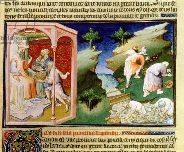 Ms Fr 2810 f.54, Fishing for pearls and gathering turquoises in the Gaindu Province, from the 'Livre des Merveilles du Monde', c.1410-12 (tempera on vellum)
