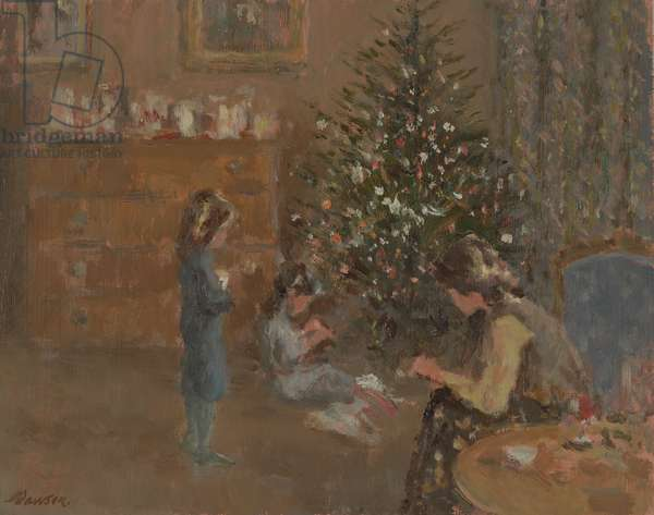 Decorating the Tree (oil on canvas)