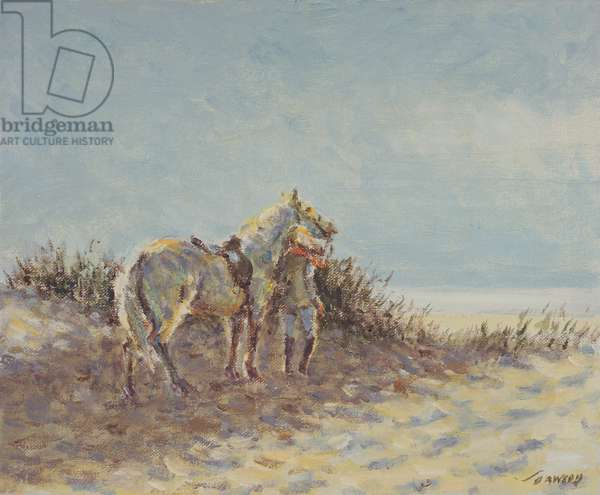 Heading for the Beach (oil on canvas)