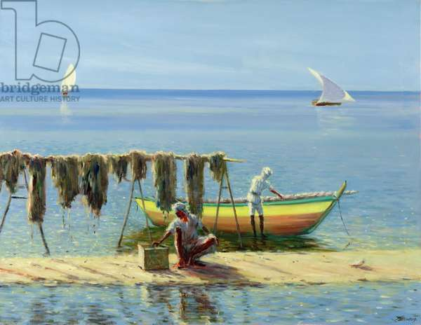 Drying Nets, Abu Dhabi (oil on canvas)