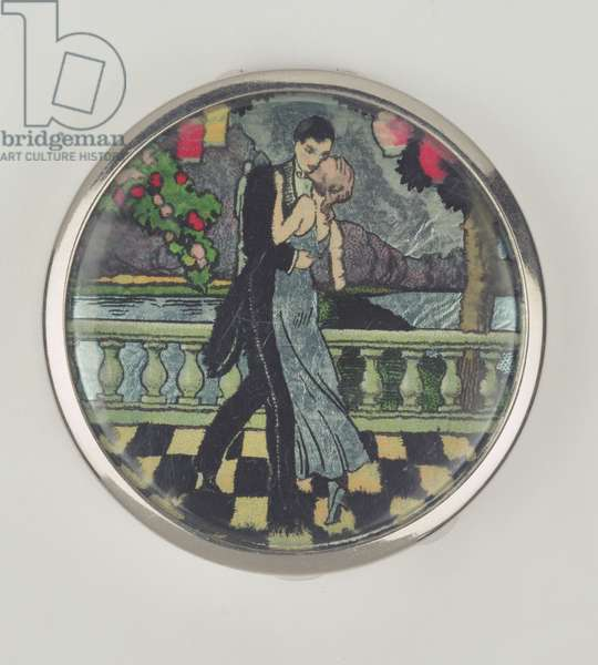 Art Deco Dancers Powder Compact, made by Stratnoid, 1920-30 (enamel)