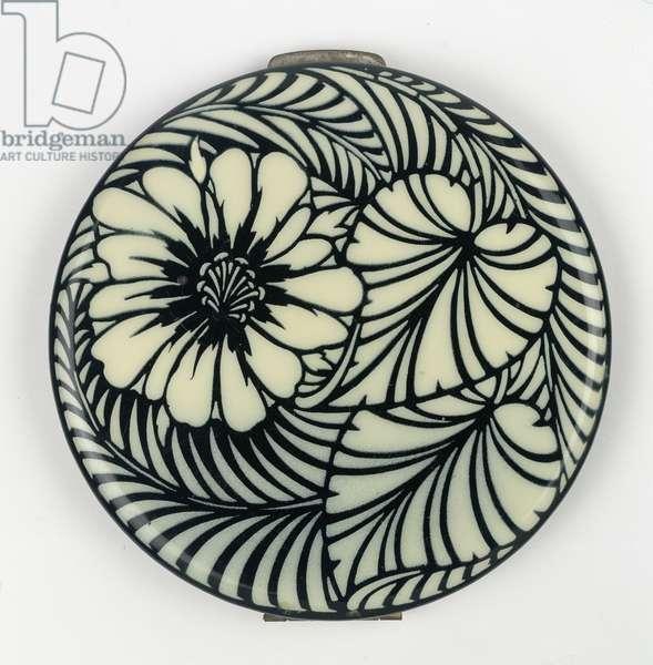 Black-and-White Flower Powder Compact, 1940s (bakelite)