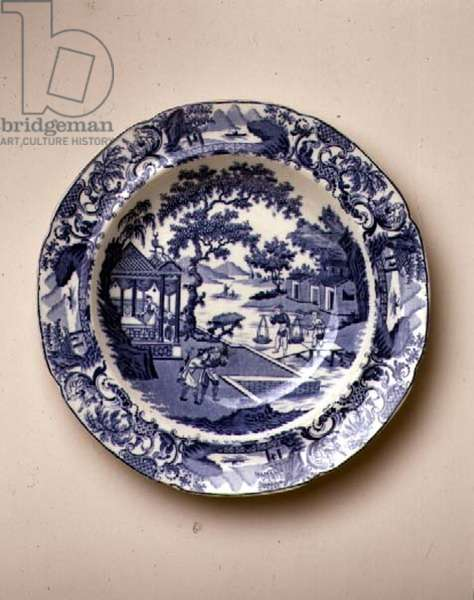 'Chinese Traders' pattern blue and white transfer-print soup plate, designed by R. Stevenson, English, c.1810 (earthenware)