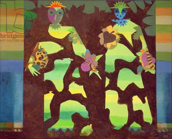 Figures in a Garden, 1979-81 (acrylic on canvas)