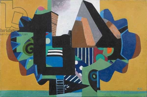 Cityscape, 1962 (acrylic on canvas)